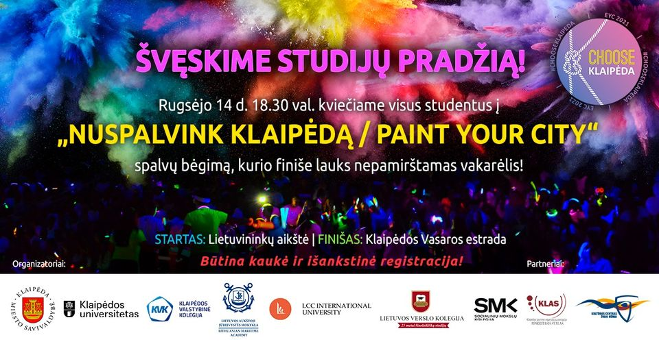 "Celebration of the beginning of studies ""Let's colour Klaipeda"