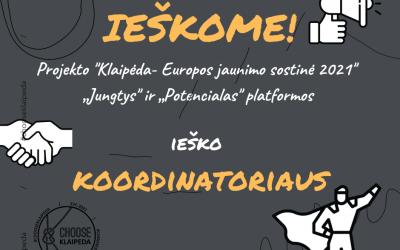 """Ieškomas platformų """"Jungtys"""" ir """"Potencialas"""" koordinatorius"""