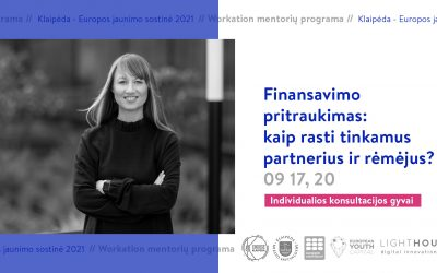 Finansavimo pritraukimas: kaip rasti tinkamus partnerius ir rėmėjus? (Indv. konsultacijos)